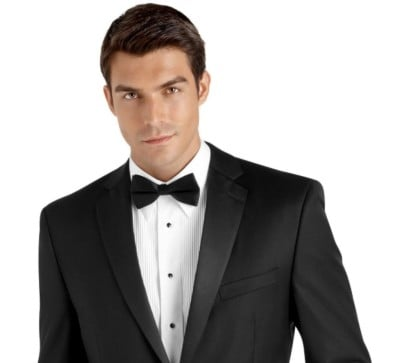 A black slim fit tuxedo from our tuxedos fro rent
