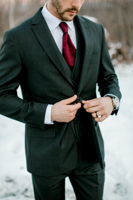A charcoal suit in our suits for sale